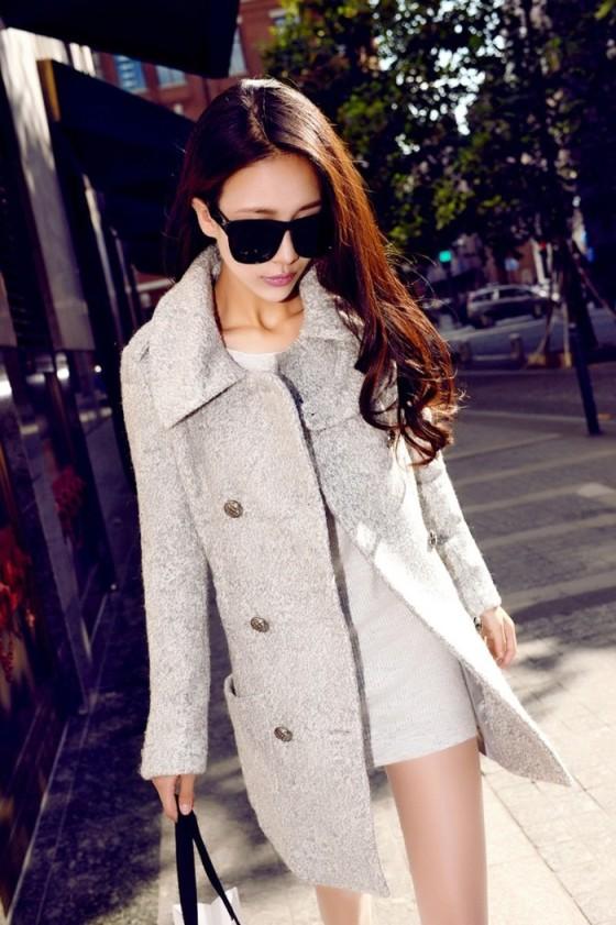 BAJU MUSIM DINGIN KOREA - LONG COAT WANITA KOREA - JYW737 Gray(4)