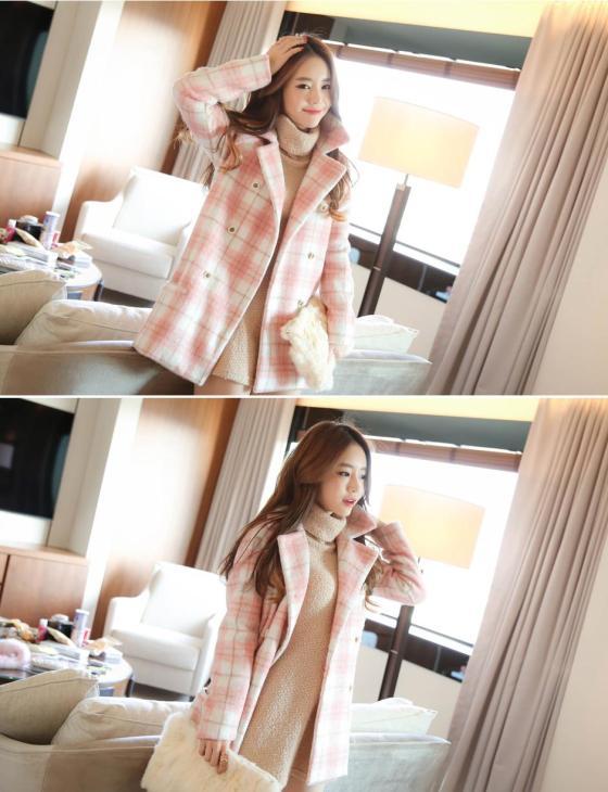 LONG COAT WANITA KOREA - JAKET MUSIM DINGIN - R67085 Pink