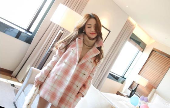 LONG COAT WANITA KOREA - JAKET MUSIM DINGIN - R67085 Pink(2)