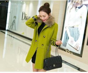 JAKET MUSIM DINGIN - COAT WANITA KOREA - JAKET BULU - JYY468-1035 Green