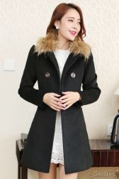 JYY468-901 Black LONG COAT KOREA - JAKET BULU MUSIM DINGIN-3499-552e3c1f83b8b