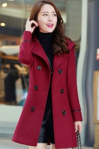 JYY439-6262 Red - LONG COAT KOREA - JAKET MUSIM DINGIN WANITA KOREA-3667-5641c2f2c0e6e